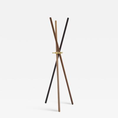 Leandro Garcia Brass and wood Sculpted Coat Stand Leandro Garcia Contemporary Brazil Design