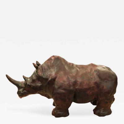 Leather Rhino Foot Stool Italy 1960s