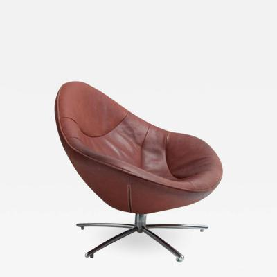 Leather Swivel Tear Drop Shaped Lounge Chair