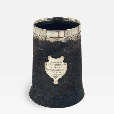 Leather Tankard with Silver Mounts American
