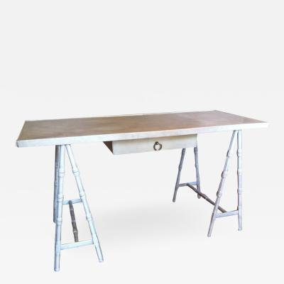 Leather trestle desk Madame Vanacky