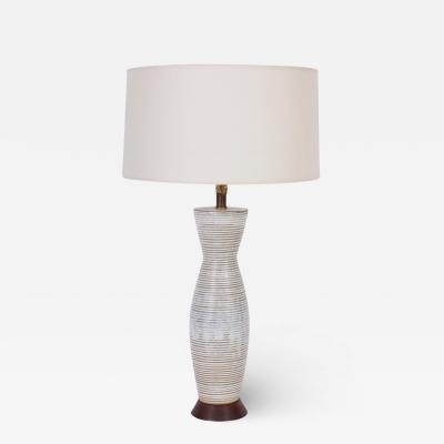 Lee Rosen Tall Lee Rosen for Design Technics Banded Drip Glaze Ceramic Table Lamp 1950s