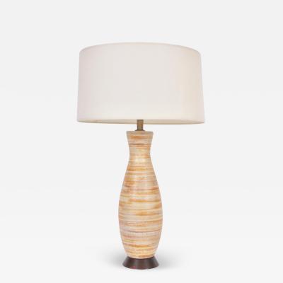 Lee Rosen Tall Lee Rosen for Design Technics Citrus Banded Ceramic Table Lamp C 1950s