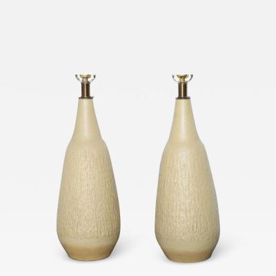 Lee Rosen Tall Pair of Lee Rosen for Design Technics Textured Cream Yellow Ceramic Lamps