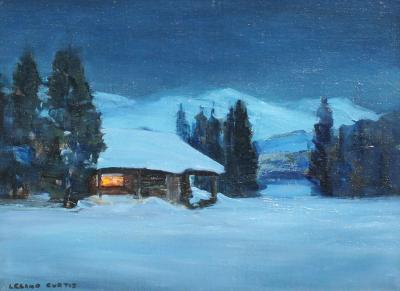 Leland S Curtis Moonlit Cabin near Lake Tahoe