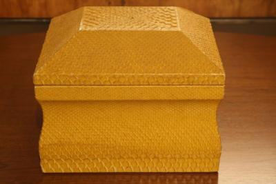 Lemon Yellow Python Skin Jewelry Box by Karl Springer