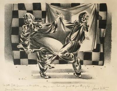 Lenard Kester Dancing Clowns Drawing by Lenard Kester