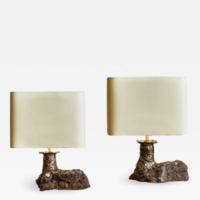 Leo Nataf Pair of Lava Stone and Ceramic Table Lamps by Leo Nataf