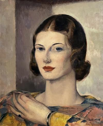 Leon Abraham Kroll Portrait of an Elegant Young Woman in Warm Grays and Soft Ochers