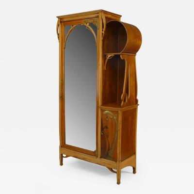 Leon Benouville French Art Nouveau Maple and Inlaid Armoire Cabinet