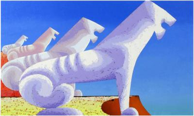 Leon Bishop Leon Bishop 1927 2006 Large Painting of Sphinxes Against Blue Sky 1993