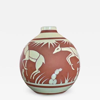 Leon Delfant Rare Art Deco BFK Leon Delfant Deer Vase