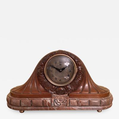 Leon Hatot Leon Hatot and ATO French Art Deco Carved Clock