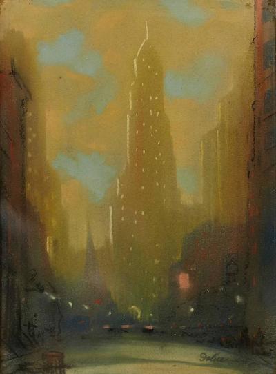 Leon Louis Dolice New York Street Scene 1930s Leon Louis Dolice Pastel