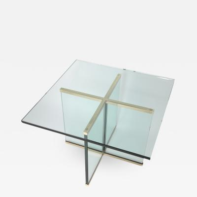 Leon Rosen 1970s Brass and Glass Side Table by Leon Rosen for Pace Collection