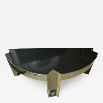 Leon Rosen Fabulous Mid Century Polished Steel Desk with Black Marble Top by Leon Rosen