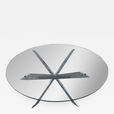 Leon Rosen Gorgeous Leon Rosen for Pace Collection Double X Base Chrome Coffee Table