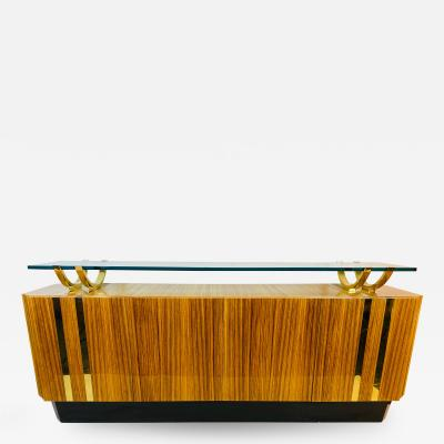 Leon Rosen HIGH END MODERN EXOTIC WOOD AND BRASS AND GLASS SIDEBOARD BY LEON ROSEN