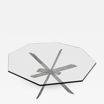 Leon Rosen Iconic Double X Base Chrome and Glass Cocktail Table by Leon Rosen for Pace