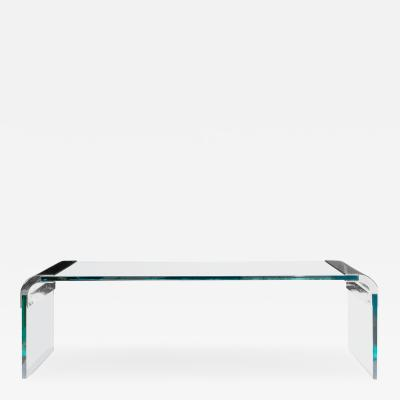 Leon Rosen Large Glass Steel Waterfall Cocktail Table by Leon Rosen for Pace Collection