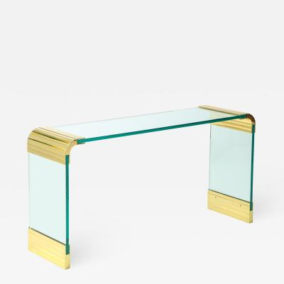 Leon Rosen Leon Rosen For Pace Brass And Glass Waterfall Console