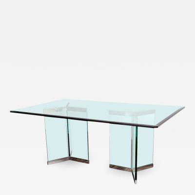Leon Rosen Leon Rosen Pace Collection Rectangular Polished Chrome and Glass Dining Table
