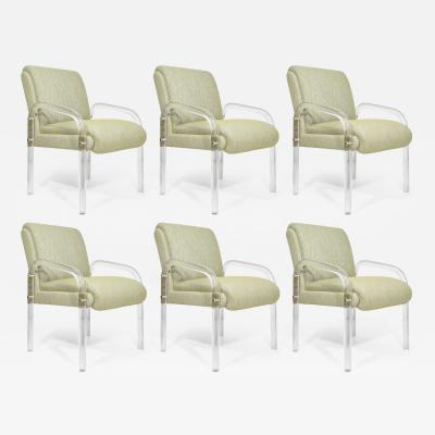 Leon Rosen Leon Rosen for Pace Collection Lucite Dining Chairs Six