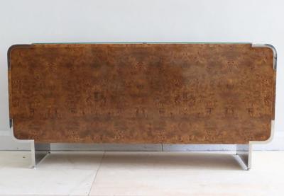 Leon Rosen Leon Rosen for Pace Olive Burl and Stainless Steel Cabinet