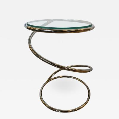Leon Rosen Mid Century Modern Pace Collection Spring Chrome and Glass Side Table