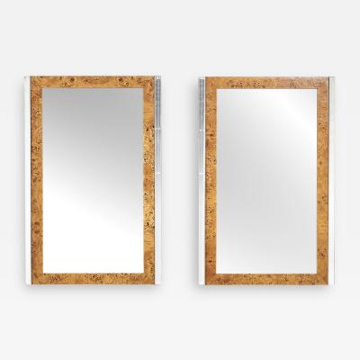 Leon Rosen Pace Burl Wood and Chrome Mirrors
