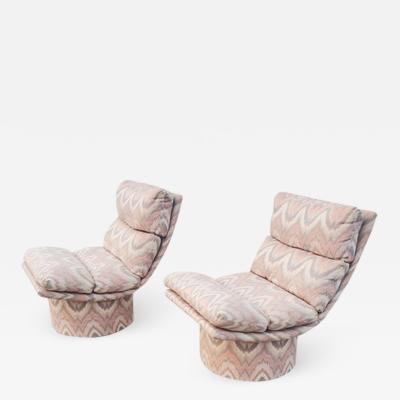 Leon Rosen Pair of Leon Rosen Pace High Base Swivel Lounge Chairs