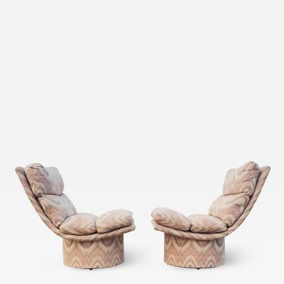 Leon Rosen Pair of Leon Rosen Pace High Base Swivel Lounge Chairs