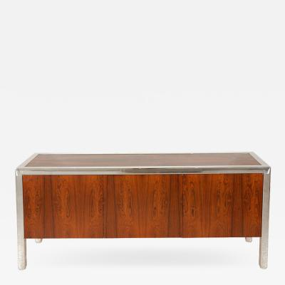 Leon Rosen Rosewood and Chrome Credenza from the Pace Collection