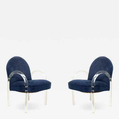 Leon Rosen Set of Ten Mid Century Blue Suede and Lucite Armchairs