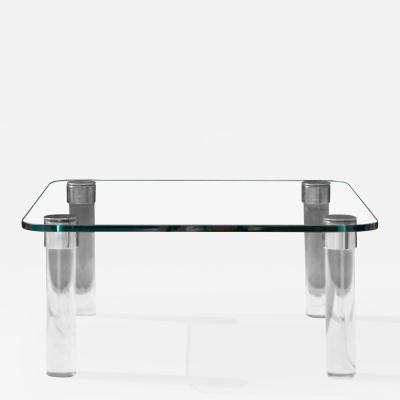 Leon Rosen Square Glass Nickel Lucite Cocktail Table by Leon Rosen for Pace Collection