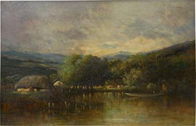 Leon Victor Dupre Cottage on a Lake Barbizon Oil Painting by Victor Dupr circa 1850