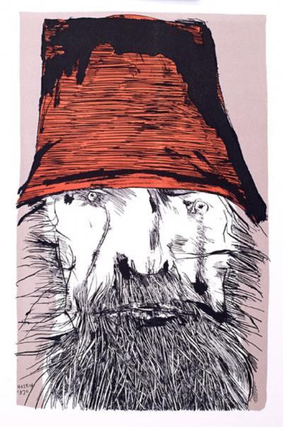 Leonard Baskin Ahab with Red Hat