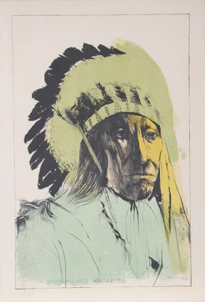 Leonard Baskin Chief American Horse Oglalla Sioux
