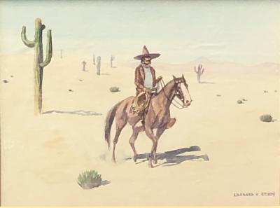 Leonard Howard Reedy Vaquero on Horseback in Desert with Joshua Trees