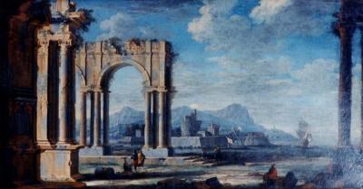 Leonardo Coccorante A Harbor Scene with Roman Ruins