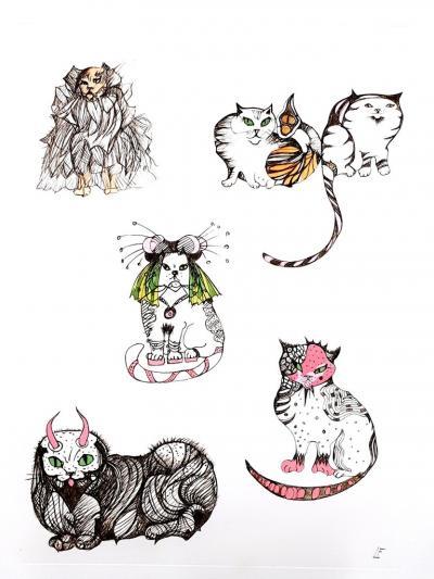 Leonor Fini Leonor Fini Surrealistic Cats Original Etching 1985