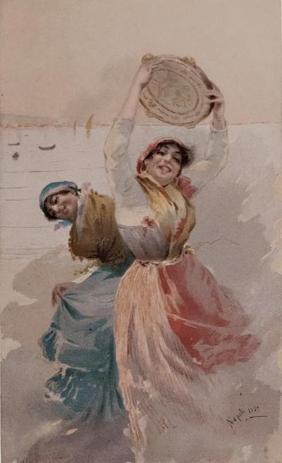 Leopoldina Zanetti Borzino Leopoldina Zanetti Borzino Lithograph Napoli 1889 Girls by the Sea