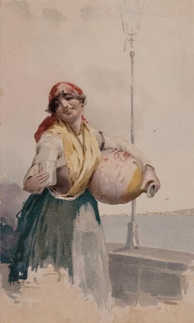 Leopoldina Zanetti Borzino Leopoldina Zanetti Borzino Lithograph Napolitano Girl with Water Jug