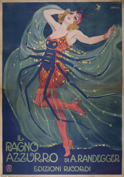 Leopoldo Metlicovitz Rare Italian Stone Lithograph Theatre Poster 1912