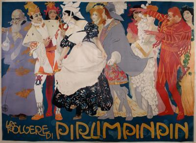 Leopoldo Metlicovitz Spectacular Italian Theatre Poster by Metlicovitz 1907 Six Sheets