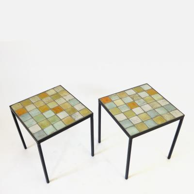 Les 2 Potiers Michelle et Jacques Serre Les 2 Potiers French Ceramic Tile Pair of Side End or Small Coffee Tables