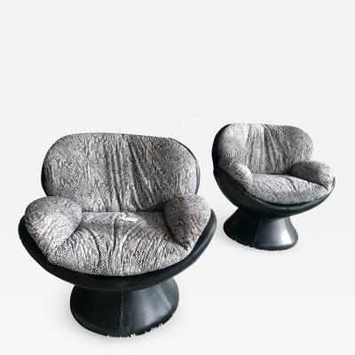 Les Amisca Pair Of Leather Swivel Chairs By Les Amisca For Quebec 69