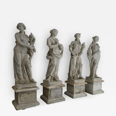 Les Quatre Saisons The Four Seasons Cast Stone Garden Statues on Pedestals