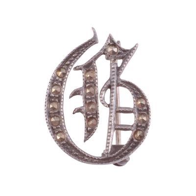 Letter G Marcasite Sterling Silver Brooch