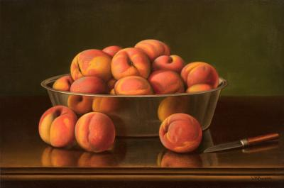 Levi Wells Prentice Still Life with Peaches in a Silver Bowl